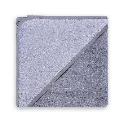 Badcape antraciet/grijs met naam