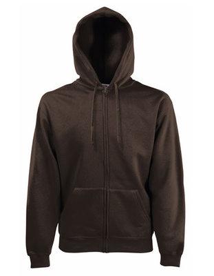 Premium hooded sweat jacket chocolade