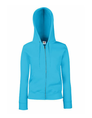 Dames premium hooded sweat jacket azure