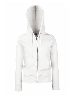 Dames premium hooded sweat jacket wit