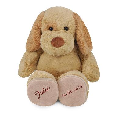 Knuffel hond met afritsbare voetjes geborduurd