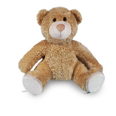 Knuffel beer met afritsbare voetjes geborduurd