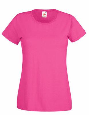 Dames t-shirt met ronde hals fuchsia
