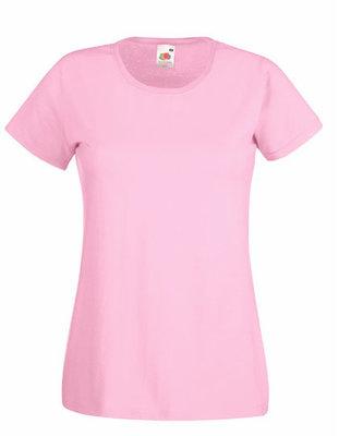 Dames t-shirt met ronde hals licht roos