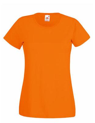 Dames t-shirt met ronde hals oranje