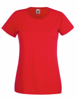 Dames t-shirt met ronde hals rood