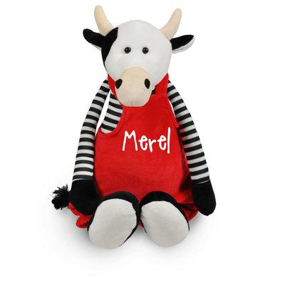 knuffel koe met geborduurd tuinbroekje