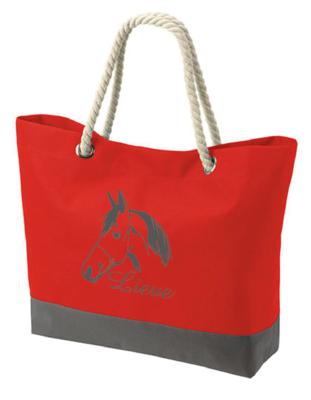 Strandtas/shopper model 1 rood met bedrukking naar keuze