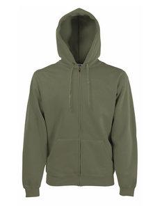 Premium hooded sweat jacket olijfgroen
