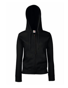 Dames premium hooded sweat jacket zwart