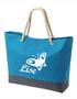 Strandtas/shopper model 1 turquoise met bedrukking naar keuze